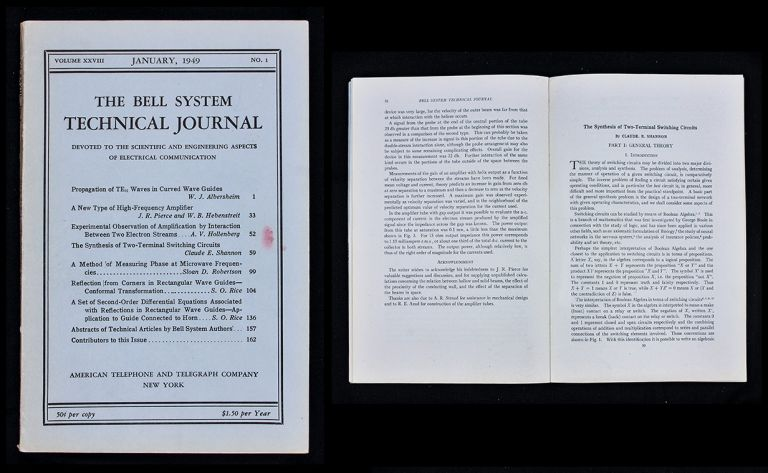 The Synthesis of Two-Terminal Switching Circuits in The Bell System Technical Journal, Volume XXVIII [28], No.1, pp.59-98, January 1949. Claude Shannon.