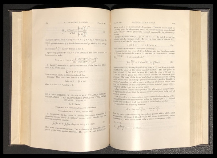 On a New Method in Elementary Number Theory Which Leads to An Elementary Proof of the Prime Number Theorem in Proceedings of the National Academy of Sciences 35 pp. 374-384, 1949 [PRIME NUMBER THEORM]. Paul Erdös.