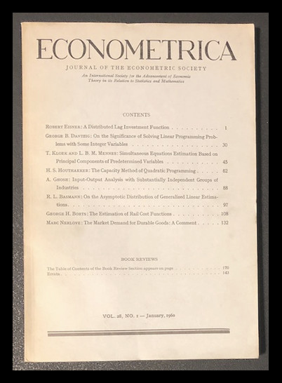 On the Significance of Solving Linear Programming Problems with Some Integer Variables Econometrica 28 No. 1 pp. 30–44, January 1960 [DANTZIG ON INTEGER PROGRAMMING]. George Bernard Dantzig.