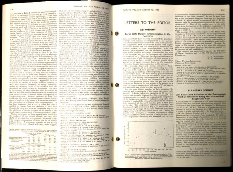 Large Scale Density Inhomogeneities in the Universe in Nature 215 No. 5102 p. 719, August 12, 1967 (Wilkinson) [1st MEASUREMENT OF CMB ANISOTROPY] WITH Oxygen isotope analysis and Pleistocene temperature re-assessed (Shackleton) pp. 15-17 [OXYGEN ISOTOPE RATIOS]. D. T. Wilkinson, R. B. Partridge, Nicholas J. Shackleton.