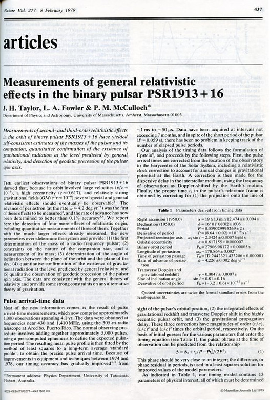 Measurements of general relativistic effects in the binary pulsar PSR1913 + 16, Nature 277, 8 February 1979, pp. 437-440 [FULL VOLUME]. J. H. Taylor, L. A. Fowler, P. M. McCulloch.