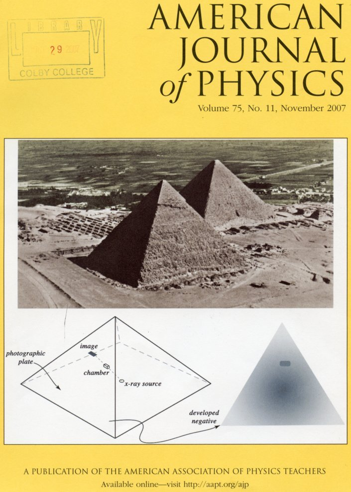 Einstein's 1934 two-blackboard derivation of energy-mass equivalence (Topper and Vincent, pp. 978-983) WITH Scientist as Detective: Louis Alvarez and the pyramid burial chambers, the JFK assassination, and the end of the dinosaurs (Wohl, pp. 968-977) in American Journal of Physics 75 No. 11, November 2007 [FIRST EDITION IN ORIGINAL WRAPPERS]. David Topper, David WITH Wohl Vincent, Charles G.
