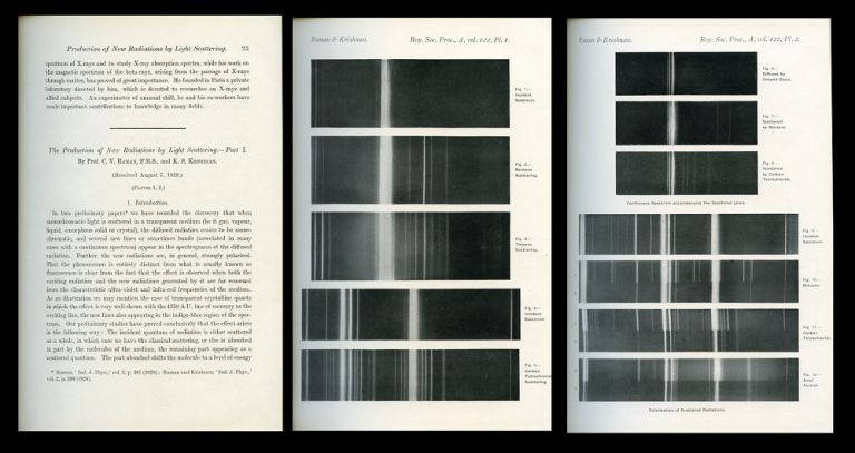 The Production of New Radiations by Light Scattering, Part 1 in Proceedings of the Royal Society, 122 A, January 1, 1929, pp. 23-35. C. V. Raman, K. S. Krishnan.