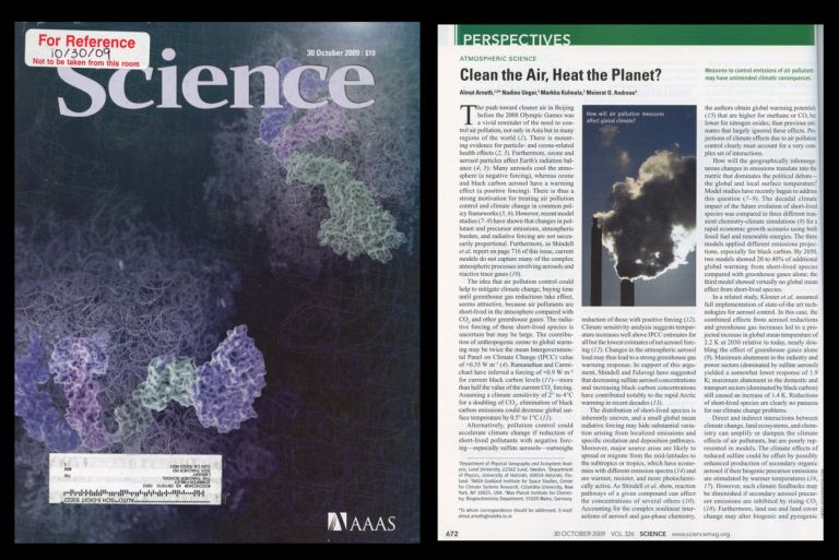 Clean the Air, Heat the Planet? in Science 326 No. 5953 pp. 672-673, October 30, 2009. Almut Arneth.