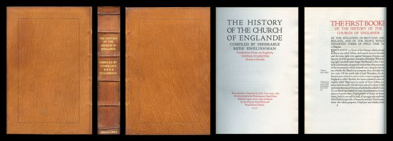 The History of the Church of Englande . Compiled by Venerable Bede Englishman. Translated out of Latin into English by Thomas Stapleton, 1930 [HANDSOMELY BOUND, PRISTINE]. Venerable Bede.