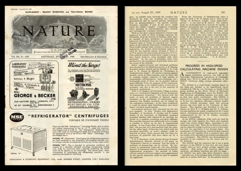 Progress in High-Speed Calculating Machine Design in Nature 164 No. 4165 pp. 341-343, August 27, 1949. Maurice Wilkes.