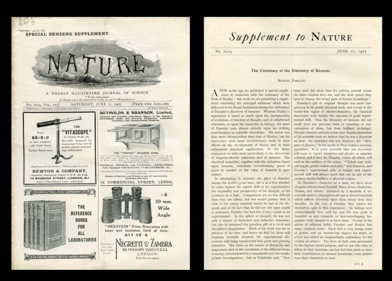 The Centenary of the Discovery of Benzene in Nature No. 2904, Volume 115, June 27, 1925 [100 YEAR SPECIAL SUPPLEMENT, FARADAY'S DISCOVERY OF BENZENE]. Michael Faraday.