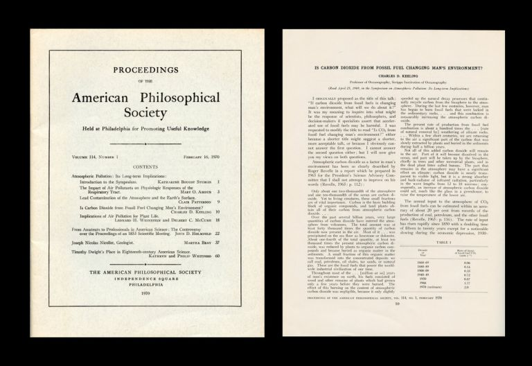 Is Carbon Dioxide from Fossil Fuel Changing Man's Environment? In Proceedings of the American Philosophical Society 114 No. 1 pp. 10-17, 1970. Charles David Keeling.
