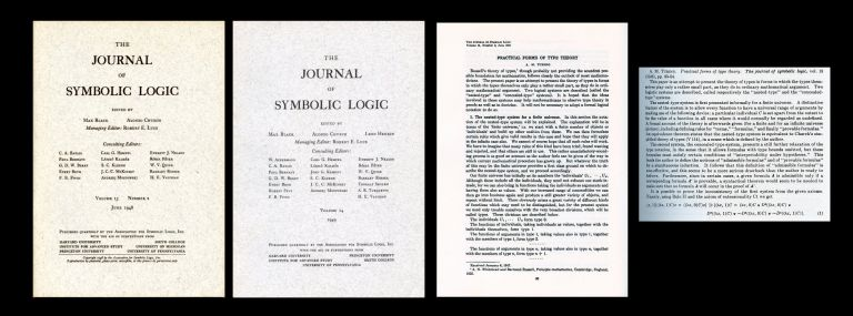 Practical Forms of Type Theory in Journal of Symbolic Logic, Volume 13, Number 2, June 1948, pp. 80-95 WITH A Review of Practical Forms in Journal of Symbolic Logic, Volume 14, Number 1, March 1949, p. 182 [ORIGINAL WRAPPERS]. Alan Turing.