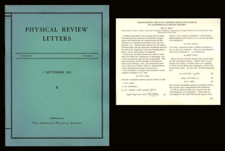 Gravitational field of a spinning mass as an example of algebraically special metrics in Physical Review Letters 11 Number 5, September 1, 1963, pp. 237-238. Roy Kerr.