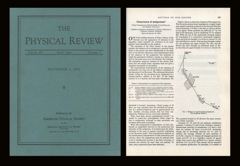Observation of Antiprotons in Physical Review 100 Issue 3 pp. 947-950, November 1, 1955; WITH Antiproton Star Observed in Emulsion Physical Review 101 pp. 909, January 15, 1956. Owen Chamberlain, Emilio Segre.