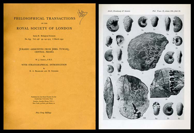 Jurassic Ammonites From Jebel Tuwaiq, Central Arabia, with R. A. Bramkamp; M. Steineke With Stratigraphical Introduction in Philosophical Transactions of the Royal Society of London, No. 633, Vol. 236, Series B, 6 March 1952. W. J. Arkell.