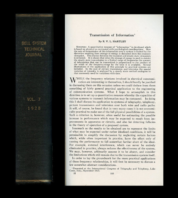 Transmission of Information in Bell System Technical Journal 7, 1928, pp. 535-563. Ralph Hartley.