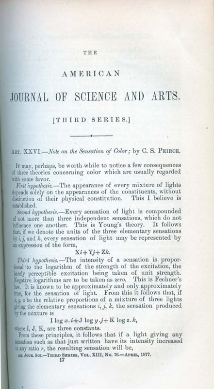 Note on the Sensation of Color in The American Journal of Science and Arts, Third Series, Vol. XIII, Nos. 73-78, January to June, 1877, pp. 247-251. C. S. Peirce, Charles Sanders.