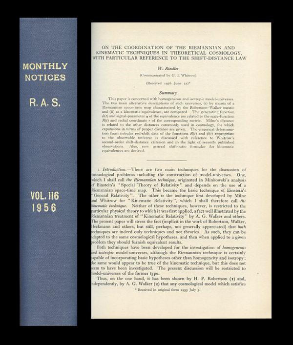 """On the Coordination of the Riemannian and Kinematic Techniques in Theoretical Cosmology. With Particular Reference to the Shift-Distance Law"" in Monthly Notices of the Royal Astronomical Society, Volume 116, 1957, pp. 335-350. W. Rindler, Wolfgang."