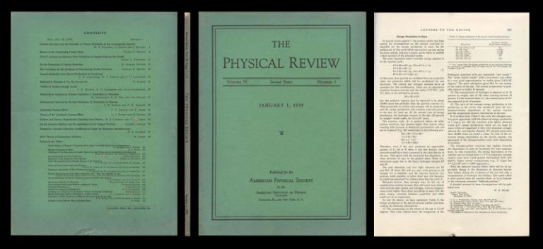 """""""Energy Production in Stars"""" in Physical Review, 55, 1939, pp. 103-104. Hans Bethe."""