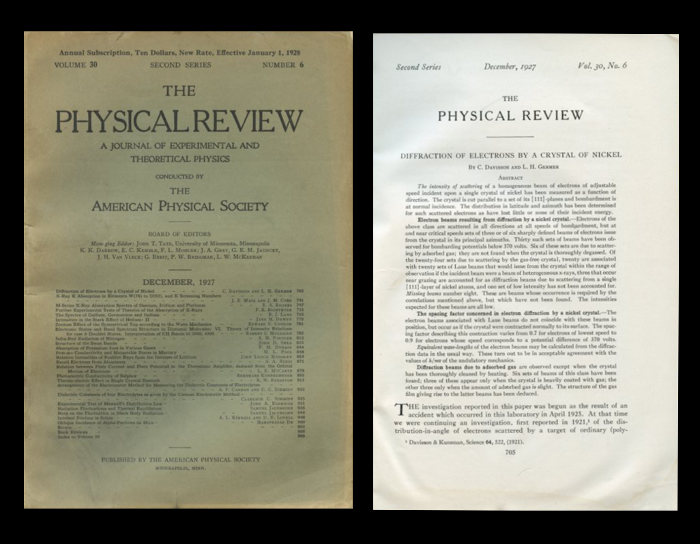 The Diffraction of Electrons by a Crystal of Nickel in The Physical Review, Vol. 30, No. 6, December 1927, pp. 705-741. C. Davisson, L. H. Germer.
