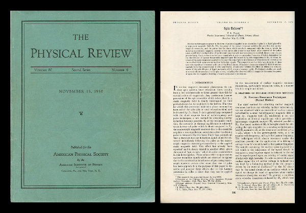 Spin Echoes in Physical Review, Volume 80, Number 4, November 15, 1950, pp. 580-594. E. L. Hahn, Erwin.