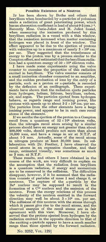 """""""Possible Existence of a Neutron"""" in Nature Vol. 129, January to June, 1932. James Chadwick."""