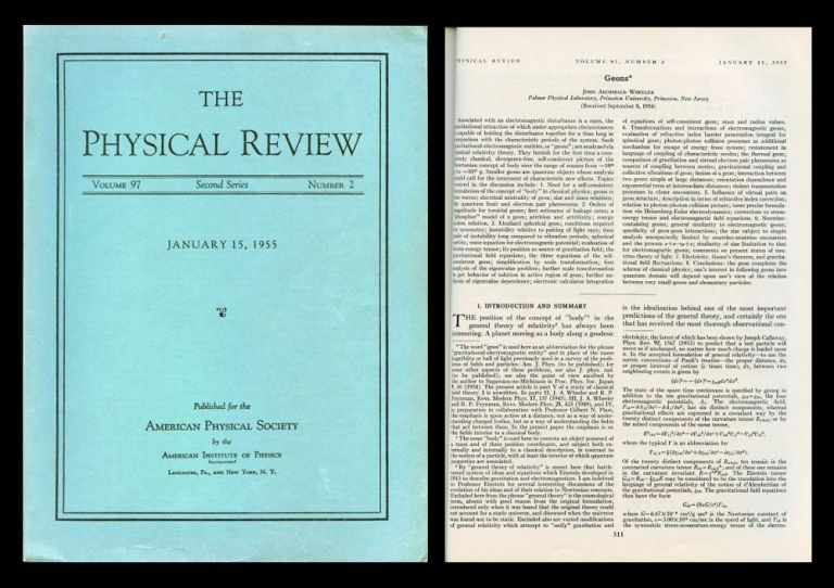 Geons in Physical Review 97 No. 2, January 15, 1955, pp. 511-535. John Wheeler.
