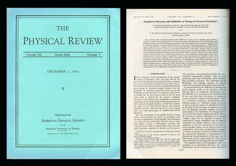 Dynamical Structure and Definition of Energy in General Relativity in Physical Review 116 No. 5, December 1, 1959, pp. 1322–1330. Richard Arnowitt, Stanley Deser, Charles Misner.