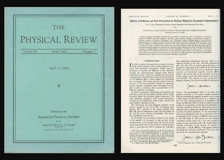 Effects of Diffusion on Free Precession in Nuclear Magnetic Resonance Experiments in Physical Review 94, No. 3, May 1, 1954, pp. 630–638. H. Y. Carr, E. M. Purcell.