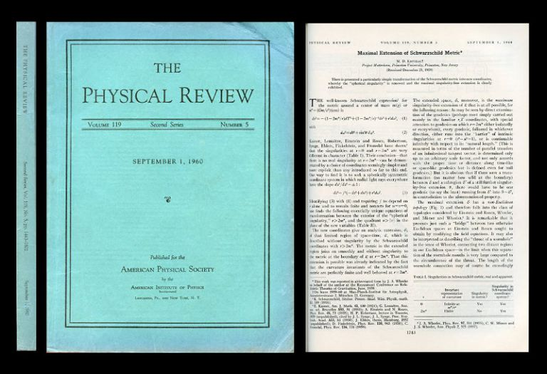 Maximal Extension of Schwarzschild Metric in Physical Review 119, No. 5, September 1960, pp.1743–1745. Martin Kruskal.