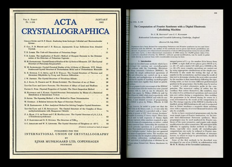 TheComputationofFourierSyntheses with a Digital Electronic Calculating Machine in Acta Crystallographica, Volume 5, 1952, pp.109-116. John Bennett, John Kendrew.