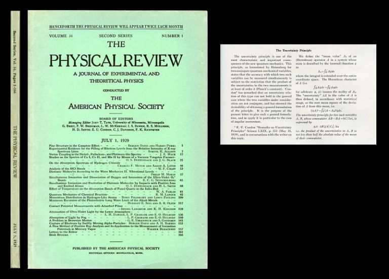 The Uncertainty Principle in The Physical Review 34, 1, July 1, 1929, pp. 163-164 [ORIGINAL WRAPS OF A SEMINAL MODIFICATION OF THE HEISENBERG UNCERTAINTY PRINCIPLE]. H. P. Robertson.