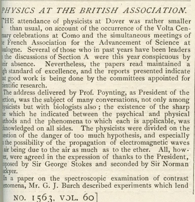 Physics at the British Association in Nature 60, May 1899 to October 1899, pp. 585-587 [FIRST PUBLISHED ANNOUNCEMENT THAT THE ELECTRON IS A SUBATOMIC PARTICLE]