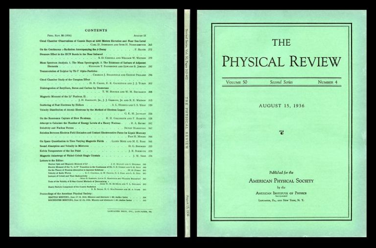 Mass Spectrum Analysis 1. The Mass Spectrograph 2. The Existence of Isobars of Adjacent Elements in Physical Review 50, 4, August 15, 1935, pp. 282-296 [1st edition in ORIGINAL WRAPS: INVENTION OF THE DOUBLE FOCUSING SPECTROMETER]. Kenneth T. Bainbridge, Edward B. Jordan.