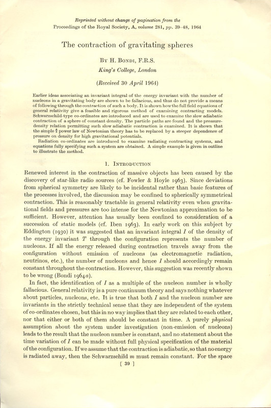 The Contraction of Gravitating Spheres (Offprint) Proceedings of the Royal Society, A, Volume 281, 1964, pp. 39-48 [1st edition: STUDY OF SPACETIME SINGULARITIES AND GRAVITATIONAL WAVES AND COLLAPSE]. H. Bondi, Hermann.