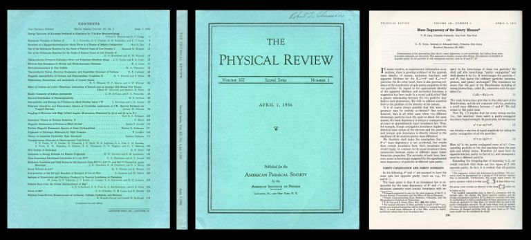Mass Degeneracy of the Heavy Mesons in Physical Review 102 No. 1, April 1956, pp. 290-291. T. D. Lee, Chen ning Yang, Tsung-Dao.
