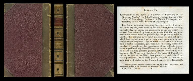 Experiments on the Effect of a Current of Electricity on the Magnetic Needle In Annals of Philosophy, Volume XVI [16], July-December 1820, pp. 273-276. John Hans Christian Oersted, Ørsted.