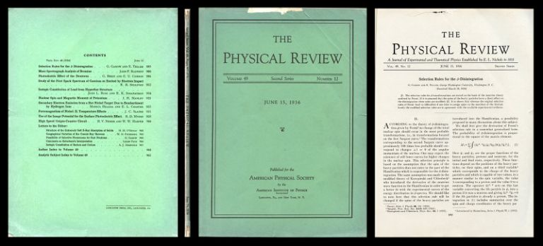 Selection Rules for the -Disintegration in Physical Review 49, 15 June 1936, pp. 895-899. G. Gamow, E. Teller.