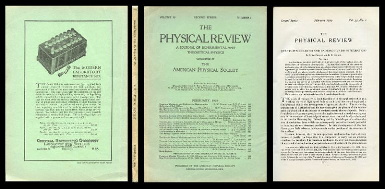 """""""Quantum Mechanics and Radioactive Disintegration"""" in Physical Review, Vol. 33, Second Series, No. 2, February 1929, pp. 127-140. R. W. Gurney, E. U. Condon."""