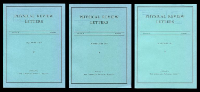 Critical Exponents in 3.99 Dimensions in Physical Review Letters 28, No. 4, January 24, 1972, pp. 240-243 (Wilson and Fisher) AND Feynman-Graph Expansion for Critical Exponents in Physical Review Letters 28, No. 9, February 28, 1972, pp. 548-551 (Wilson) AND Feynman-Graph Expansion for the Equation of State near the Critical Point (Ising-like Case) in Physical Review Letters 29, No. 9, August 28, 1972, pp. 591-594 (Brézin, Wallace, Wilson). Kenneth G. Wilson, Michael E. Fisher, E. Brézin, D. J. Wallace.