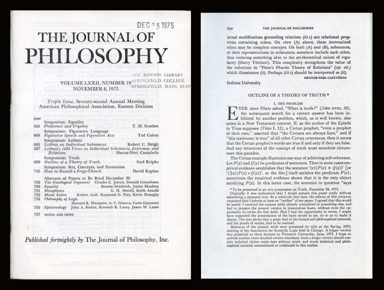 Outline of a Theory of Truth in The Journal of Philosophy, Col. LXXII, No. 19, Nov. 6, 1975, pp. 690-716. Saul Kripke.