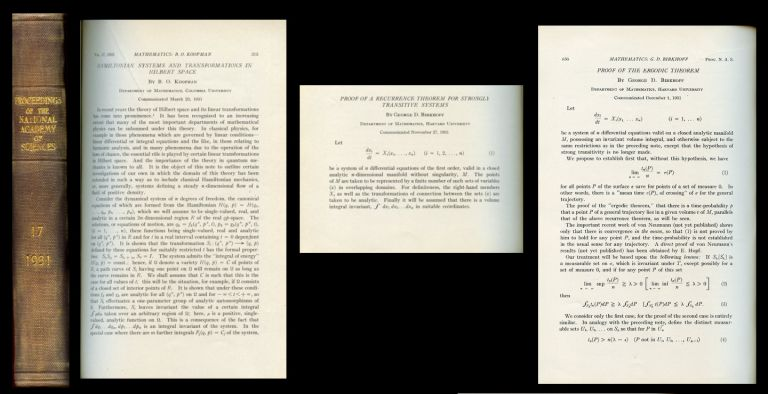 Hamiltonian Systems and Transformations in Hilbert Space (Koopman) AND Proof of the Ergodic Theorem (Birkhoff) AND Proof of the Ergodic Theorem (Birkhoff) in The Proceedings of the National Academy of Sciences Vol. 17, 1931, Washington DC: National Academy of Sciences, pp. 315-318, pp. 650-660, pp. 656-660. B. O. AND George D. Birkhoff Koopman.