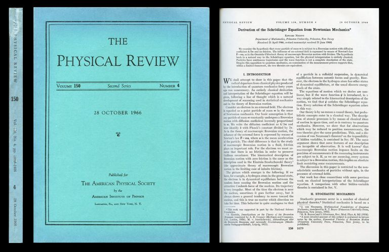 Derivation of the Schrödinger Equation From Newtonian Mechanics in The Physical Review, Vol. 150, Second Series No. 4, 28 October 1966 pp. 1079 - 1085. Edward Nelson.