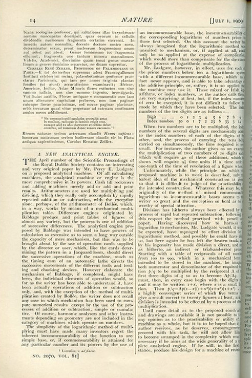A New Analytical Engine in Nature 81, 1909, pp. 14-15. C. V. Boys, P. E. Ludgate, Charles Vernon.