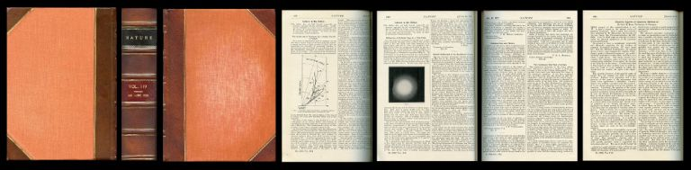 The Scattering of Electrons by a Single Crystal of Nickel [Davisson & Germer, pp. 558-560] WITH Diffraction of Cathode Rays by a Thin Film [Thomson & Reid, p. 890] WITH The Continuous Spectrum of -Rays [Ellis & Wooster, pp. 563-564] WITH Physical Aspects of Quantum Mechanics [Born, pp. 354-357] WITH Supplement to Nature: The Bicentenary of Newton's Death [Bound in pp. 1-100] in Nature 119, 1927. C. J. Davisson, L. H. WITH Thomson Germer, George, G. WITH Ellis Reid, C. D., W. A. WITH Born Wooster, M., Max.