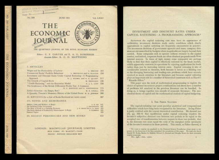 Investment and Discount Rates Under Capital Budgeting – A Programming Approach in The Economic Journal 75, No. 298, June 1965, pp. 317-329. W. J. Baumol, R. E. Quandt, William, Richard.