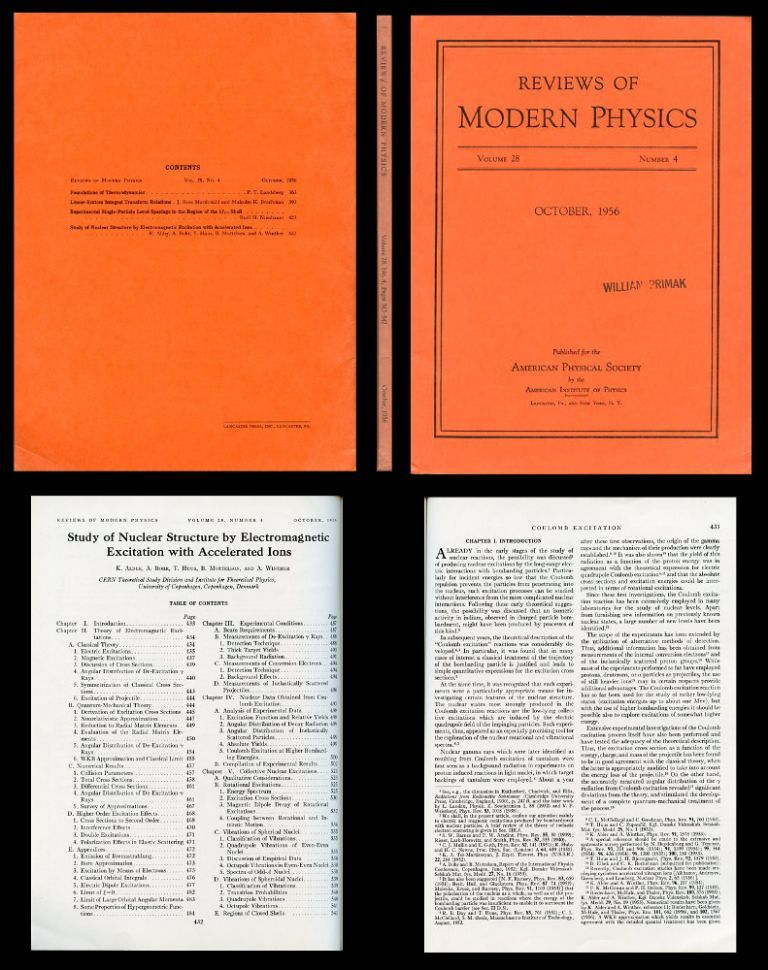 Study of Nuclear Structure by Electromagnetic Excitation with Accelerated Ions in Reviews of Modern Physics 28, 4, October, 1956, pp. 432-542. Kurt Alder, Aage Bohr, T. Huss, Ben Mottelson, Aage Winther.