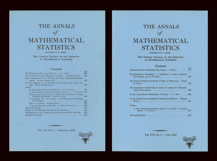 On Cumulative Sums of Random Variables (Annals of Mathematical Statistics 15 No. 3 pp. 283 – 296, September 1944) and Sequential Tests of Statistical Hypotheses (Annals of Mathematical Statistics 16 No. 2 pp. 117 -186, June 1945). Abraham Wald.
