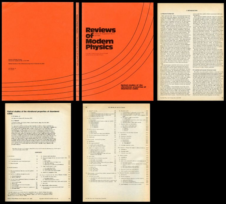 Optical Studies of the Vibrational Properties of Disordered Solids in Reviews of Modern Physics, Vol 47, Supplement No. 2, Fall 1975. A. S. Barker Jr., A. J. Sievers.