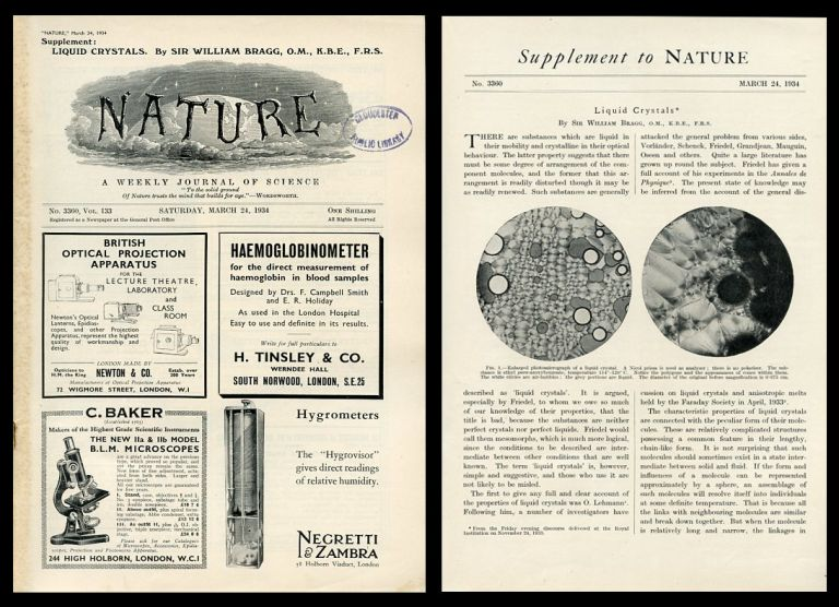 Liquid Crystals [Special Supplement] in Nature 133, No. 3360, March 24, 1934. Sir William Bragg.