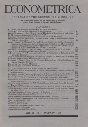 """The theory of play and integral equations with skew symmetric kernels,"" ""On games that involve chance and the skill of players,"" and ""On systems of linear skew-symmetric determinant and the genera theory of play"" (Borel) WITH Nash, John. ""Two Person Coperative Games"" in Econometrica 21, January 1953, pp. 97-118 and pp. 128-141. Emile Borel, John Nash."