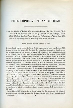 On the Relation of Radiant Heat to Aqueous Vapour in Philosophical Transactions of the Royal Society of London 153 pp. 1-12, 1863