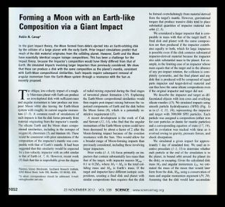 Forming a Moon with an Earth-like composition via a Giant Impact (Canup, pp. 1052-1055) WITH...